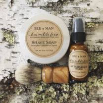 3 piece Shave Essentials, including shave soap, aftershave balm and brush