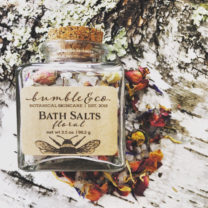 3.5 oz bottle of floral bath salts