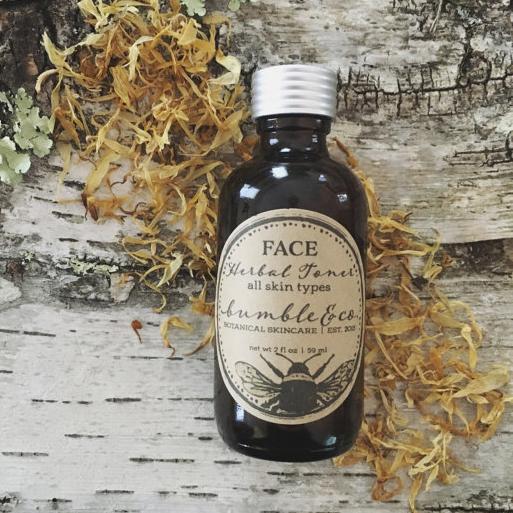 Bottle of herbal toner for all skin types